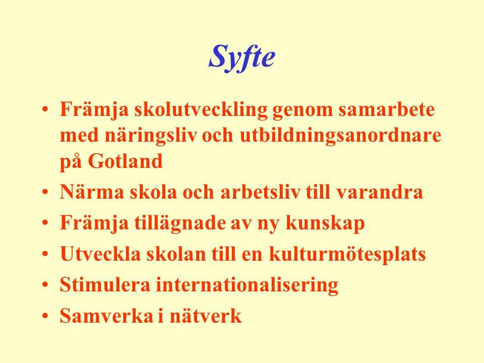 Syfte Främja skolutveckling genom samarbete med näringsliv och utbildningsanordnare på Gotland Närma skola och arbetsliv till varandra Främja tillägna