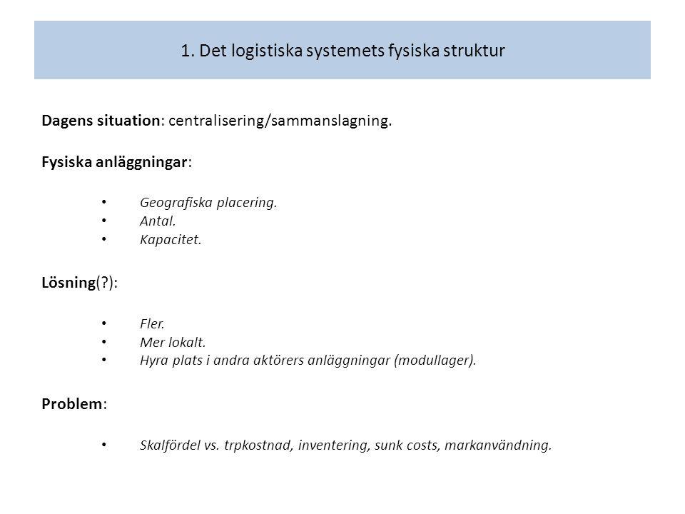 Dagens situation: centralisering/sammanslagning. Fysiska anläggningar: Geografiska placering.