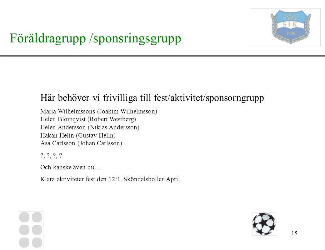 15 Föräldragrupp /sponsringsgrupp Här behöver vi frivilliga till fest/aktivitet/sponsorngrupp Maria Wilhelmssons (Joakim Wilhelmsson) Helen Blomqvist