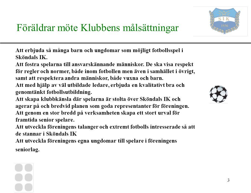 3 Föräldrar möte Klubbens målsättningar Att erbjuda så många barn och ungdomar som möjligt fotbollsspel i Sköndals IK. Att fostra spelarna till ansvar