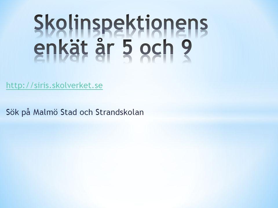 http://siris.skolverket.se Sök på Malmö Stad och Strandskolan