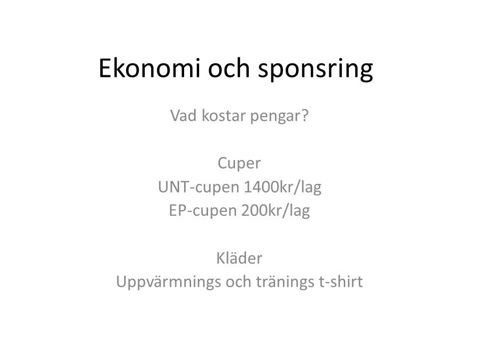 Ekonomi och sponsring Vad kostar pengar.