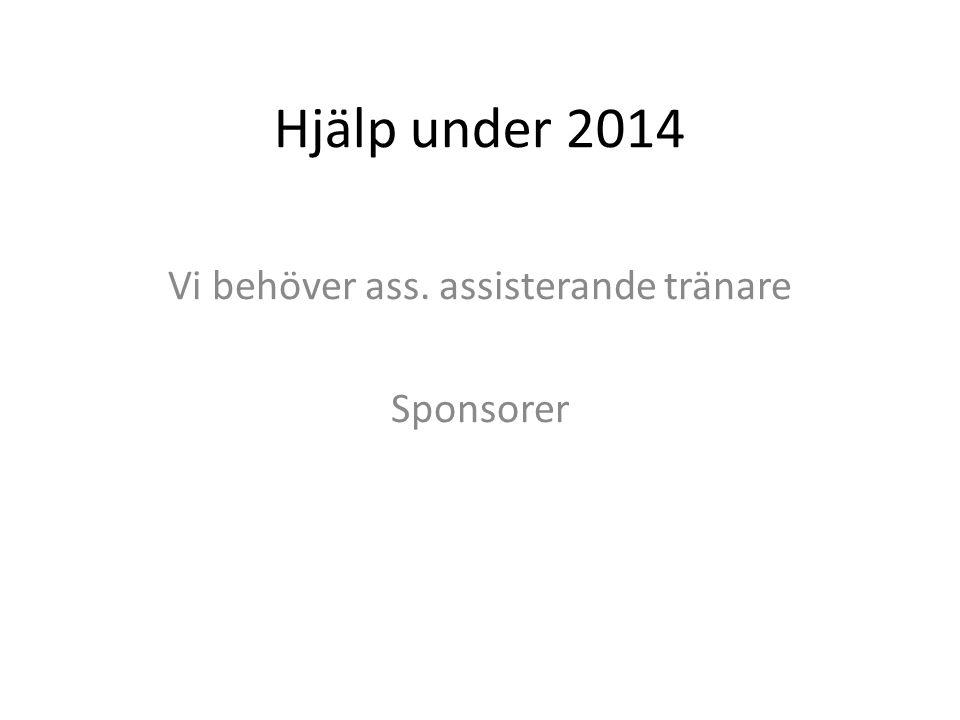 Hjälp under 2014 Vi behöver ass. assisterande tränare Sponsorer