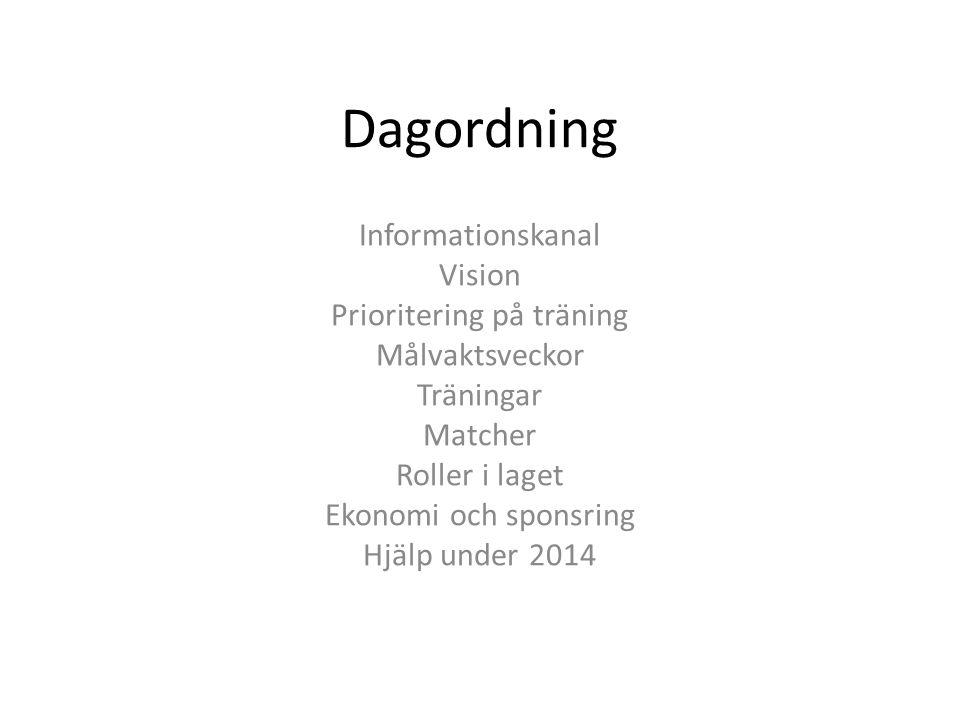 Dagordning Informationskanal Vision Prioritering på träning Målvaktsveckor Träningar Matcher Roller i laget Ekonomi och sponsring Hjälp under 2014