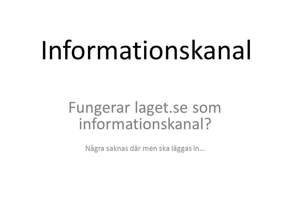 Informationskanal Fungerar laget.se som informationskanal Några saknas där men ska läggas in…