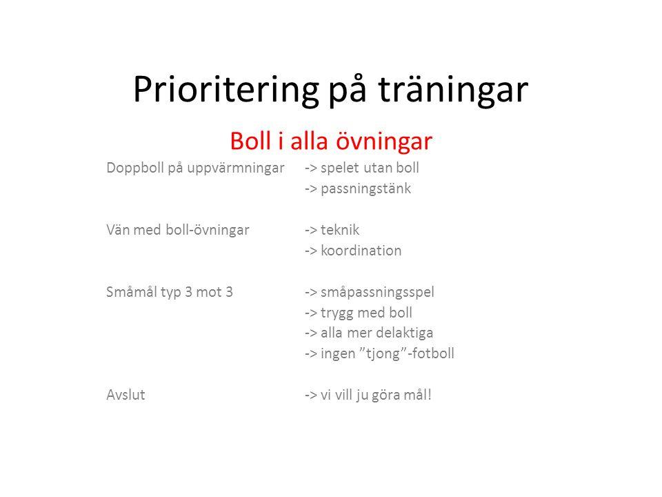 Prioritering på träningar Boll i alla övningar Doppboll på uppvärmningar -> spelet utan boll -> passningstänk Vän med boll-övningar-> teknik -> koordination Småmål typ 3 mot 3-> småpassningsspel -> trygg med boll -> alla mer delaktiga -> ingen tjong -fotboll Avslut-> vi vill ju göra mål!