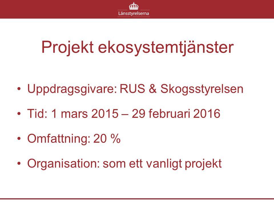 Projekt ekosystemtjänster Uppdragsgivare: RUS & Skogsstyrelsen Tid: 1 mars 2015 – 29 februari 2016 Omfattning: 20 % Organisation: som ett vanligt proj