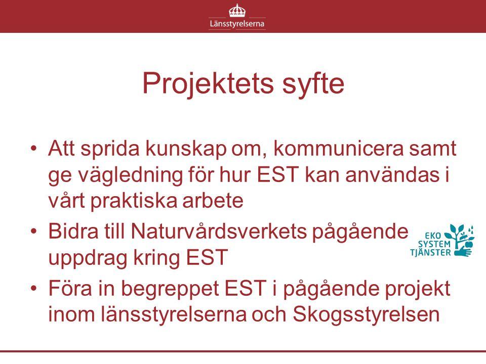 Projektets syfte Att sprida kunskap om, kommunicera samt ge vägledning för hur EST kan användas i vårt praktiska arbete Bidra till Naturvårdsverkets pågående uppdrag kring EST Föra in begreppet EST i pågående projekt inom länsstyrelserna och Skogsstyrelsen