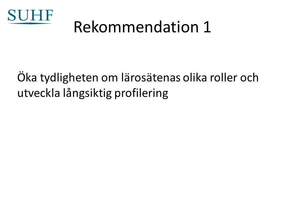 Rekommendation 1 Öka tydligheten om lärosätenas olika roller och utveckla långsiktig profilering