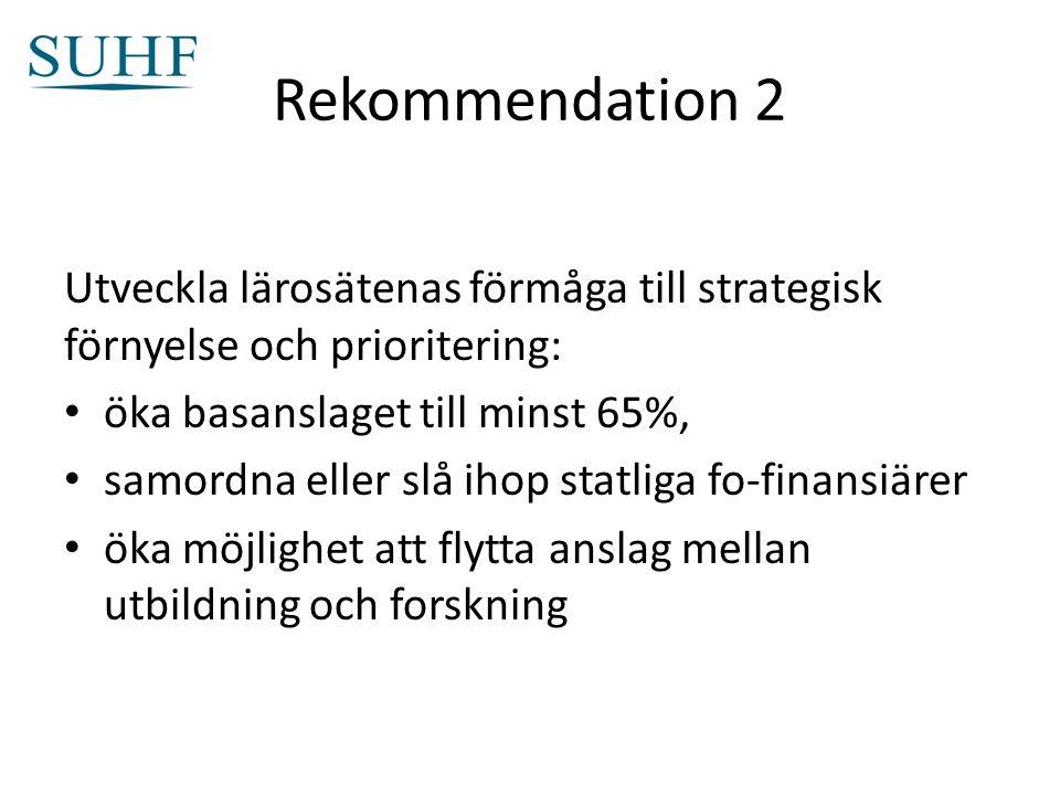 Rekommendation 2 Utveckla lärosätenas förmåga till strategisk förnyelse och prioritering: öka basanslaget till minst 65%, samordna eller slå ihop statliga fo-finansiärer öka möjlighet att flytta anslag mellan utbildning och forskning