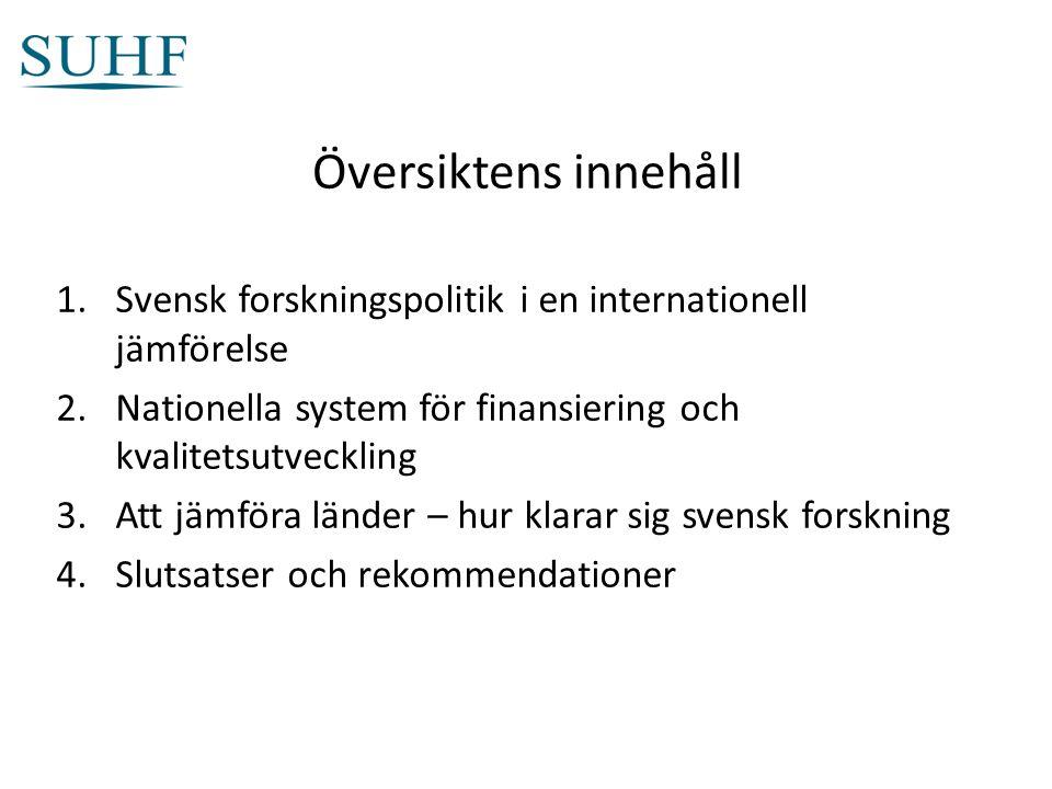 Översiktens innehåll 1.Svensk forskningspolitik i en internationell jämförelse 2.Nationella system för finansiering och kvalitetsutveckling 3.Att jämföra länder – hur klarar sig svensk forskning 4.Slutsatser och rekommendationer