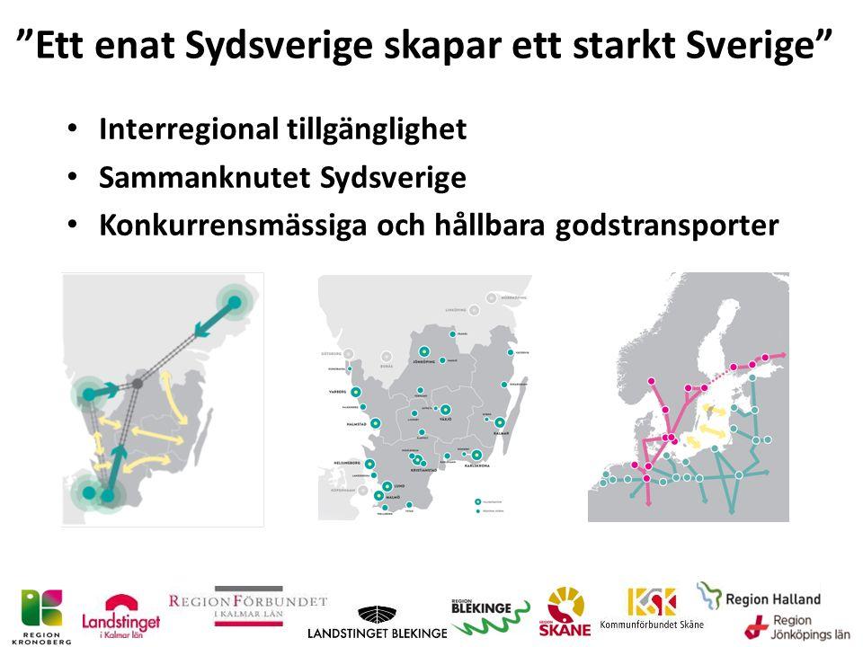 Ett enat Sydsverige skapar ett starkt Sverige Interregional tillgänglighet Sammanknutet Sydsverige Konkurrensmässiga och hållbara godstransporter