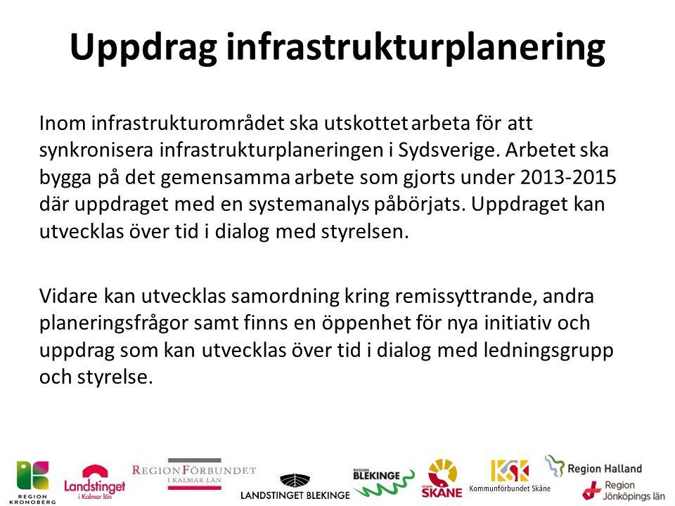 Uppdrag infrastrukturplanering Inom infrastrukturområdet ska utskottet arbeta för att synkronisera infrastrukturplaneringen i Sydsverige.