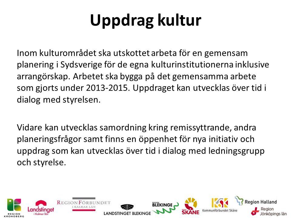 Uppdrag kultur Inom kulturområdet ska utskottet arbeta för en gemensam planering i Sydsverige för de egna kulturinstitutionerna inklusive arrangörskap.
