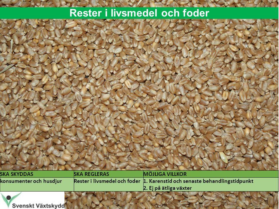 Rester i livsmedel och foder SKA SKYDDASSKA REGLERASMÖJLIGA VILLKOR konsumenter och husdjurRester i livsmedel och foder1.