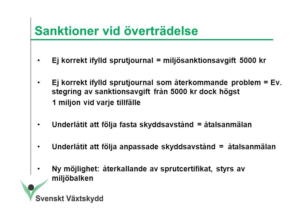 Sanktioner vid överträdelse Ej korrekt ifylld sprutjournal = miljösanktionsavgift 5000 kr Ej korrekt ifylld sprutjournal som återkommande problem = Ev.