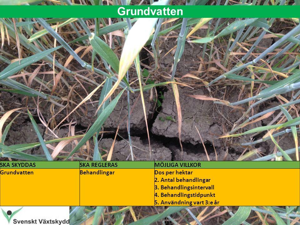 Grundvatten SKA SKYDDASSKA REGLERASMÖJLIGA VILLKOR GrundvattenBehandlingarDos per hektar 2.