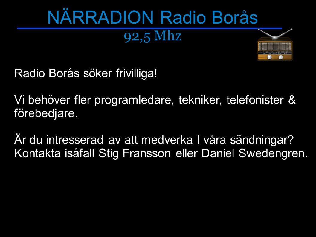NÄRRADION Radio Borås 92,5 Mhz Närradiotips.