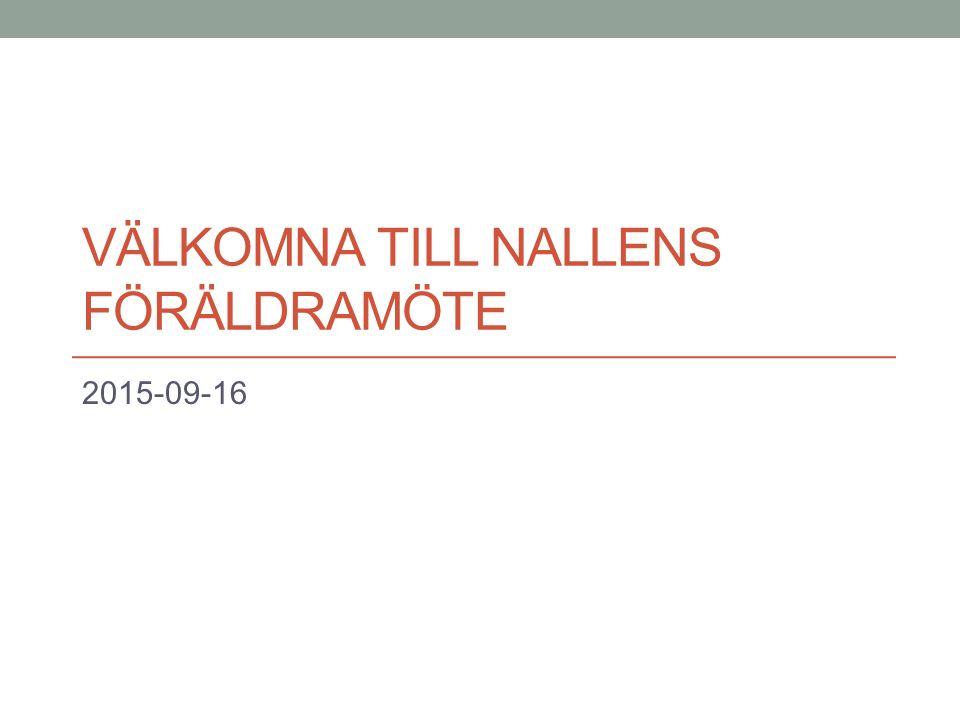 VÄLKOMNA TILL NALLENS FÖRÄLDRAMÖTE 2015-09-16