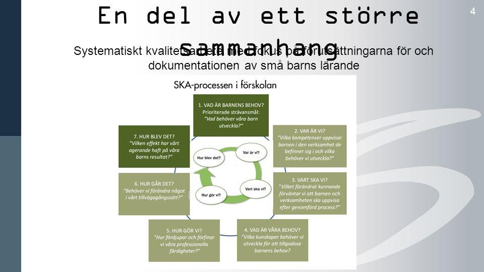 En del av ett större sammanhang 4 Systematiskt kvalitetsarbete med fokus på förutsättningarna för och dokumentationen av små barns lärande