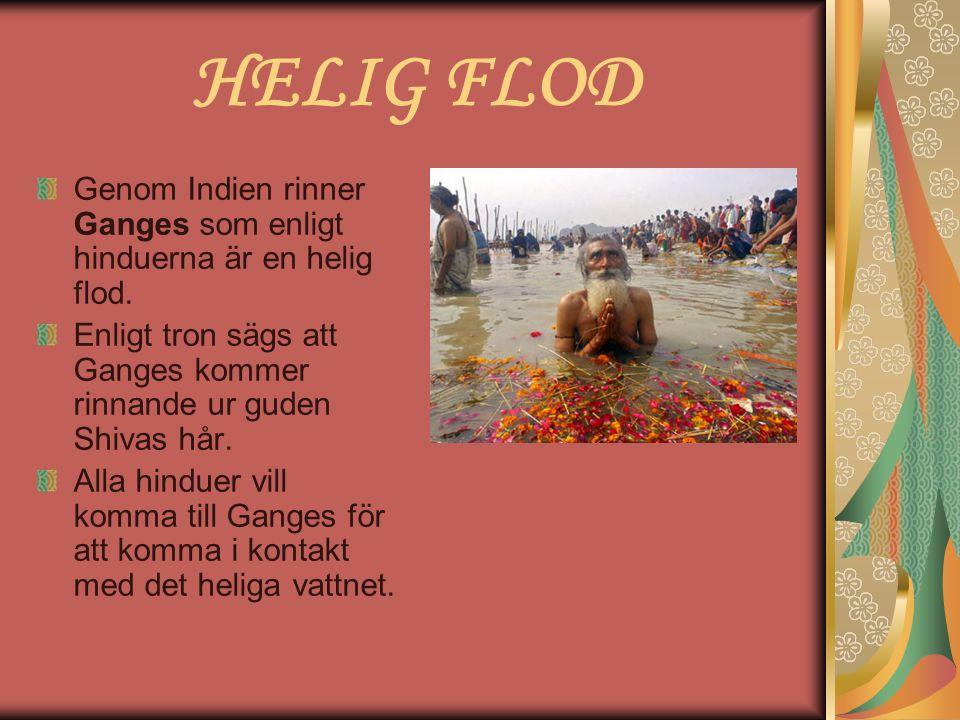 HELIG FLOD Genom Indien rinner Ganges som enligt hinduerna är en helig flod. Enligt tron sägs att Ganges kommer rinnande ur guden Shivas hår. Alla hin