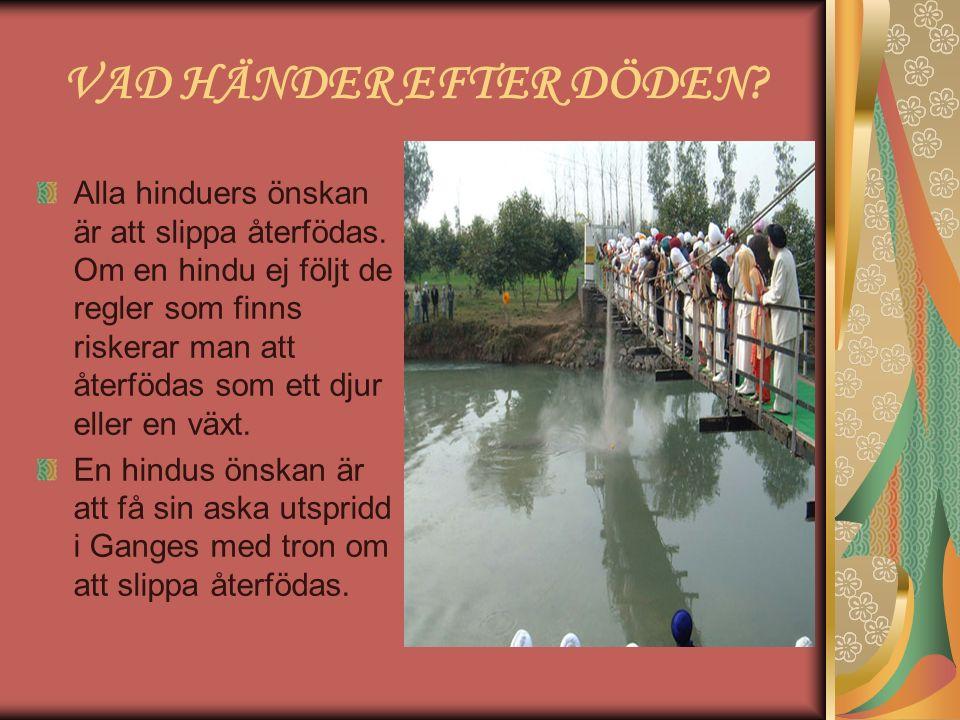 VAD HÄNDER EFTER DÖDEN? Alla hinduers önskan är att slippa återfödas. Om en hindu ej följt de regler som finns riskerar man att återfödas som ett djur