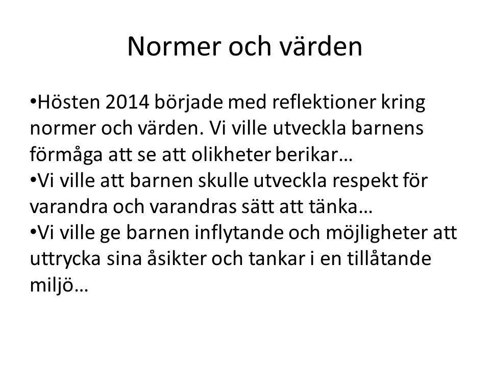 Normer och värden Hösten 2014 började med reflektioner kring normer och värden.