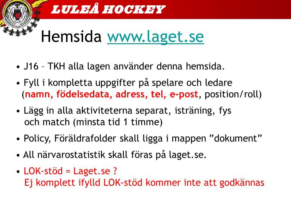 Hemsida www.laget.sewww.laget.se J16 – TKH alla lagen använder denna hemsida. Fyll i kompletta uppgifter på spelare och ledare (namn, födelsedata, adr