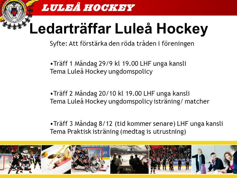 Ledarträffar Luleå Hockey Syfte: Att förstärka den röda tråden i föreningen Träff 1 Måndag 29/9 kl 19.00 LHF unga kansli Tema Luleå Hockey ungdomspolicy Träff 2 Måndag 20/10 kl 19.00 LHF unga kansli Tema Luleå Hockey ungdomspolicy isträning/ matcher Träff 3 Måndag 8/12 (tid kommer senare) LHF unga kansli Tema Praktisk isträning (medtag is utrustning)