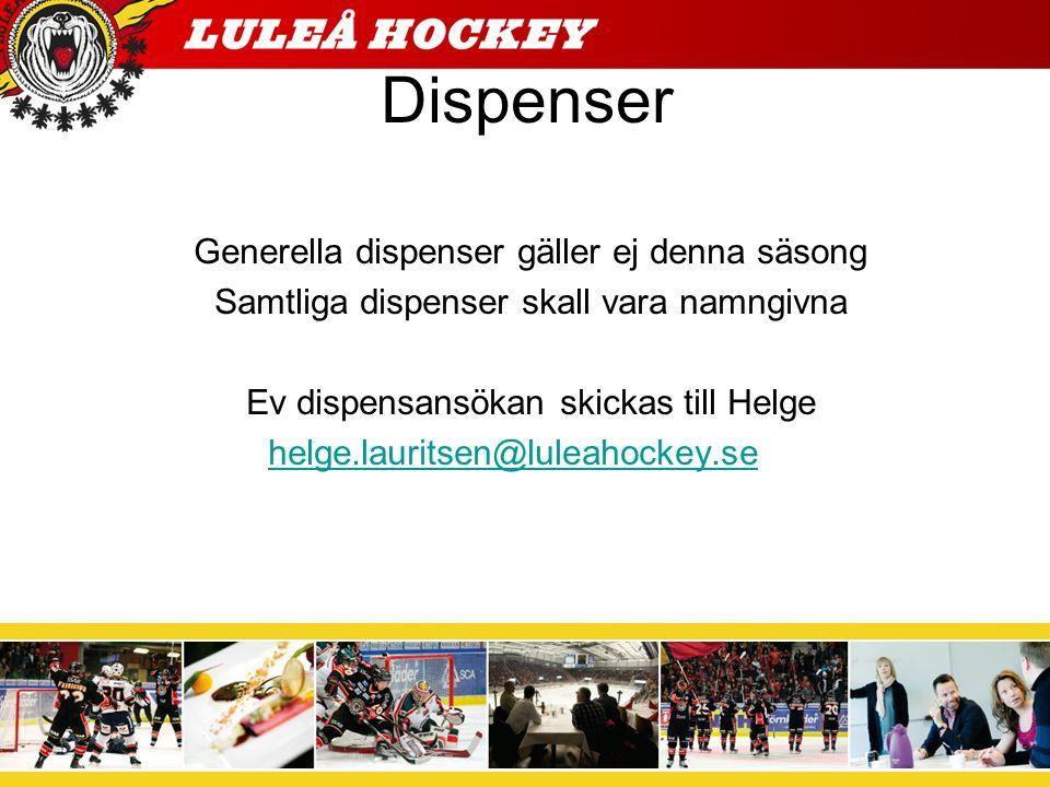 Dispenser Generella dispenser gäller ej denna säsong Samtliga dispenser skall vara namngivna Ev dispensansökan skickas till Helge helge.lauritsen@luleahockey.se