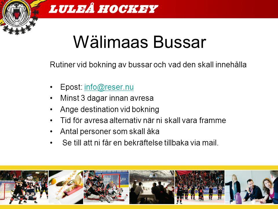 Wälimaas Bussar Rutiner vid bokning av bussar och vad den skall innehålla Epost: info@reser.nuinfo@reser.nu Minst 3 dagar innan avresa Ange destinatio