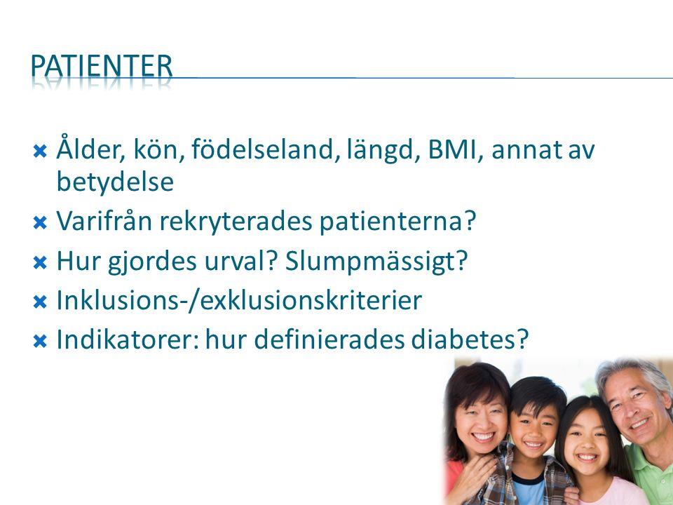 Ålder, kön, födelseland, längd, BMI, annat av betydelse  Varifrån rekryterades patienterna.