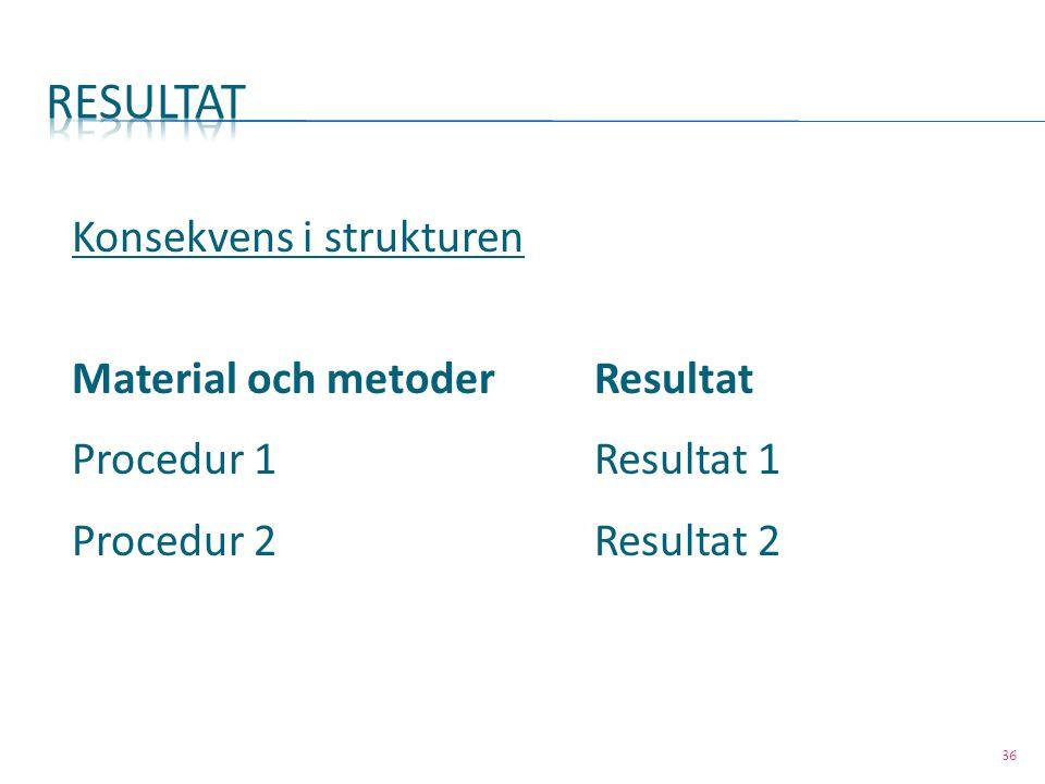 36 Konsekvens i strukturen Material och metoderResultat Procedur 1 Resultat 1 Procedur 2Resultat 2