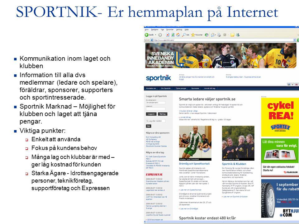 2 SPORTNIK- Er hemmaplan på Internet Kommunikation inom laget och klubben Information till alla dvs medlemmar (ledare och spelare), föräldrar, sponsorer, supporters och sportintresserade.