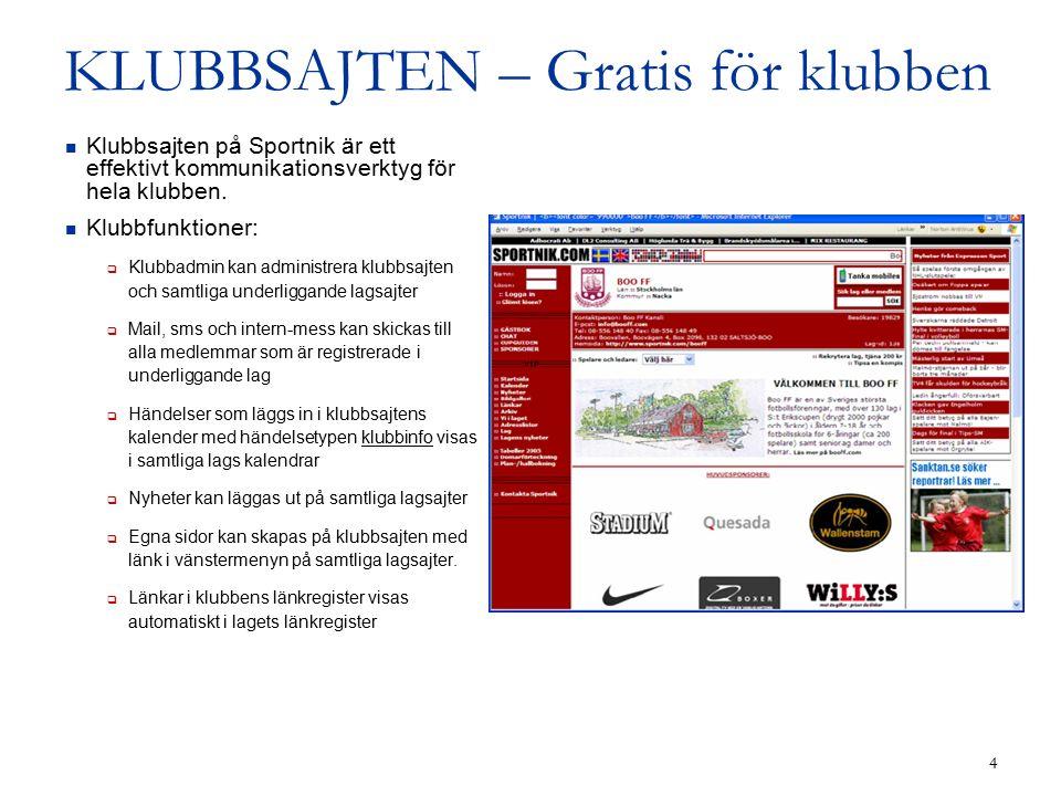4 KLUBBSAJTEN – Gratis för klubben Klubbsajten på Sportnik är ett effektivt kommunikationsverktyg för hela klubben.
