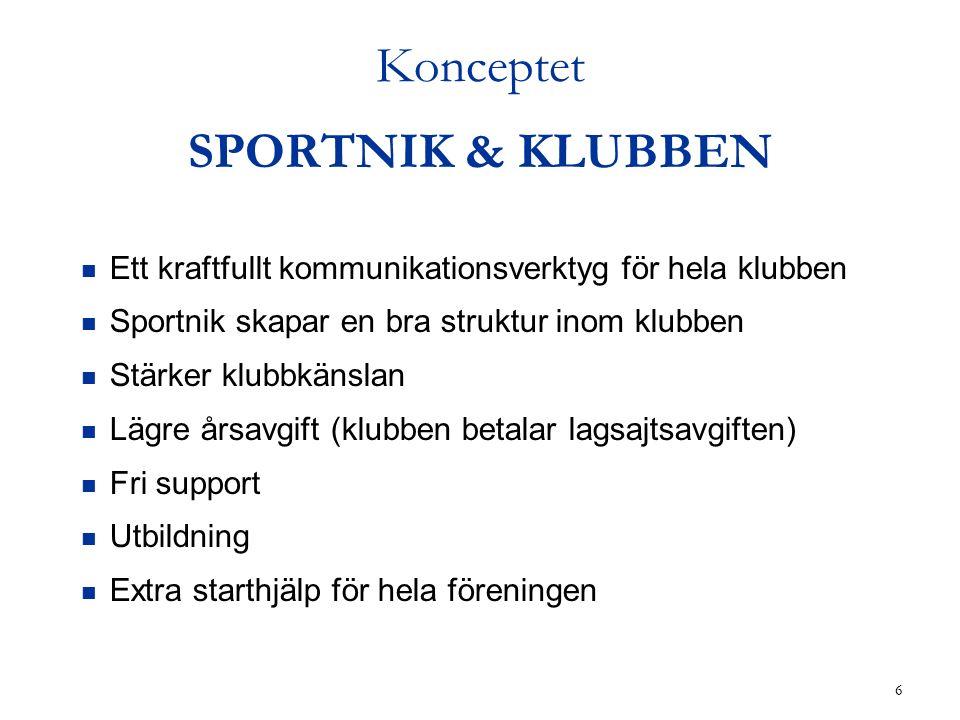 6 Konceptet SPORTNIK & KLUBBEN Ett kraftfullt kommunikationsverktyg för hela klubben Sportnik skapar en bra struktur inom klubben Stärker klubbkänslan Lägre årsavgift (klubben betalar lagsajtsavgiften) Fri support Utbildning Extra starthjälp för hela föreningen
