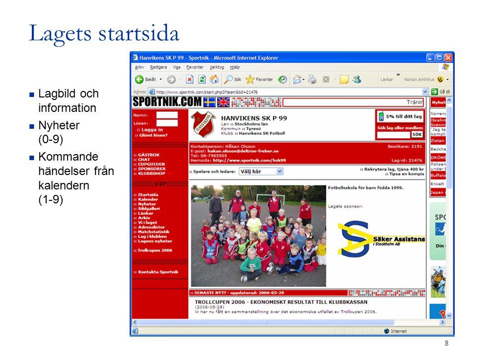 8 Lagets startsida Lagbild och information Nyheter (0-9) Kommande händelser från kalendern (1-9)