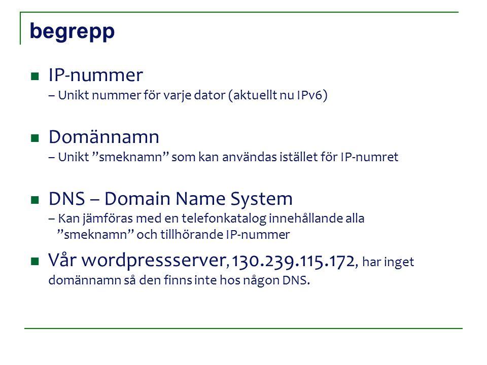 begrepp IP-nummer – Unikt nummer för varje dator (aktuellt nu IPv6) Domännamn – Unikt smeknamn som kan användas istället för IP-numret DNS – Domain Name System – Kan jämföras med en telefonkatalog innehållande alla smeknamn och tillhörande IP-nummer Vår wordpressserver, 130.239.115.172, har inget domännamn så den finns inte hos någon DNS.