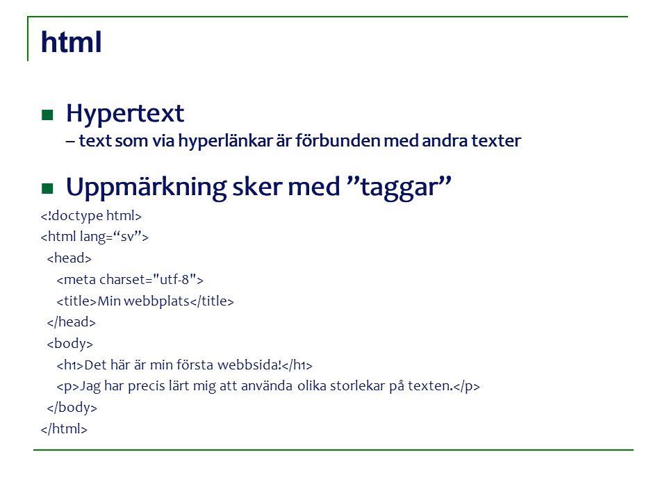 html Hypertext – text som via hyperlänkar är förbunden med andra texter Uppmärkning sker med taggar Hypertext – text som via hyperlänkar är förbunden med andra texter Uppmärkning sker med taggar Min webbplats Det här är min första webbsida.