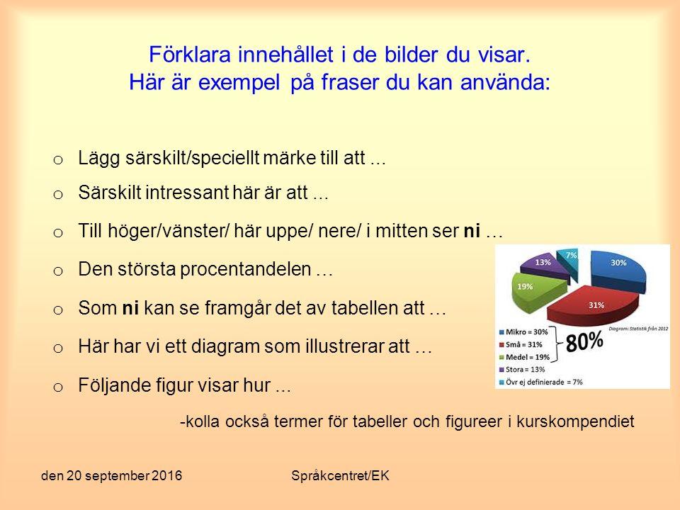 den 20 september 2016Språkcentret/EK Avslutning Gör en kort sammanfattning Knyt ihop säcken - säg vad du har sagt Inget plötsligt, oväntat slut med det var allt eller liknande.