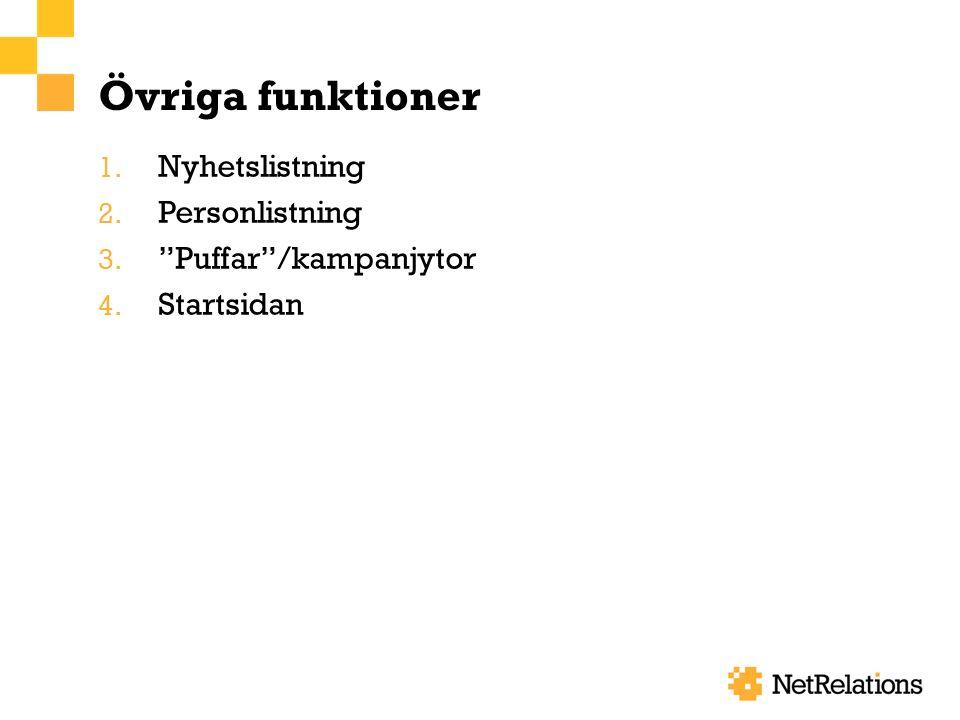 Övriga funktioner 1. Nyhetslistning 2. Personlistning 3. Puffar /kampanjytor 4. Startsidan