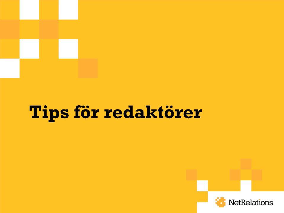 Tips för redaktörer