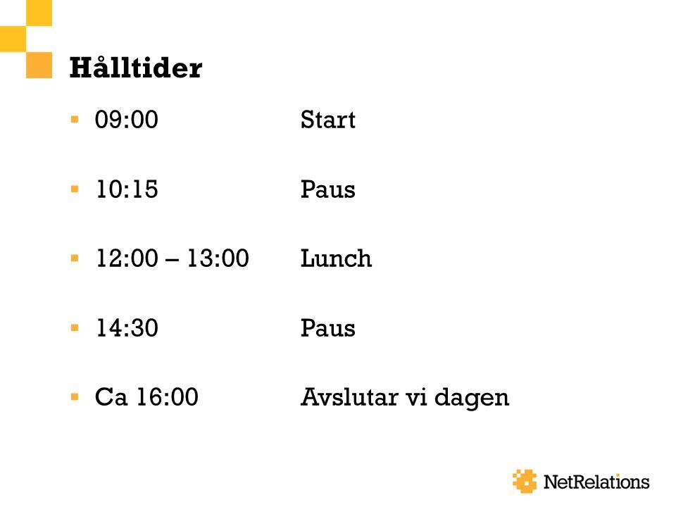 Hålltider  09:00Start  10:15Paus  12:00 – 13:00Lunch  14:30Paus  Ca 16:00Avslutar vi dagen