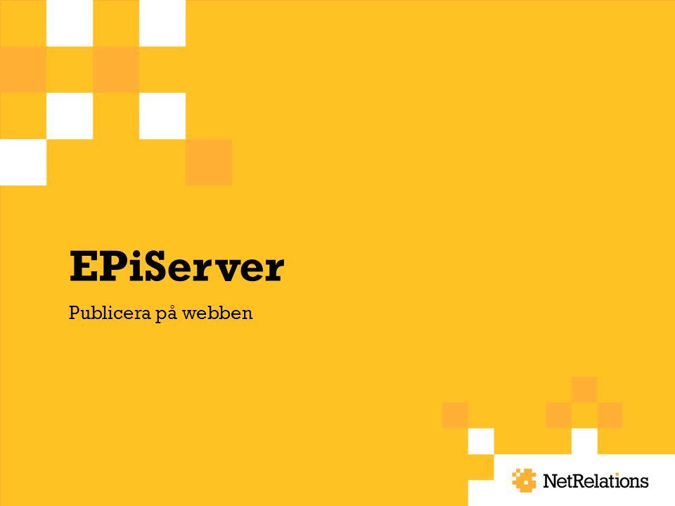 EPiServer Publicera på webben