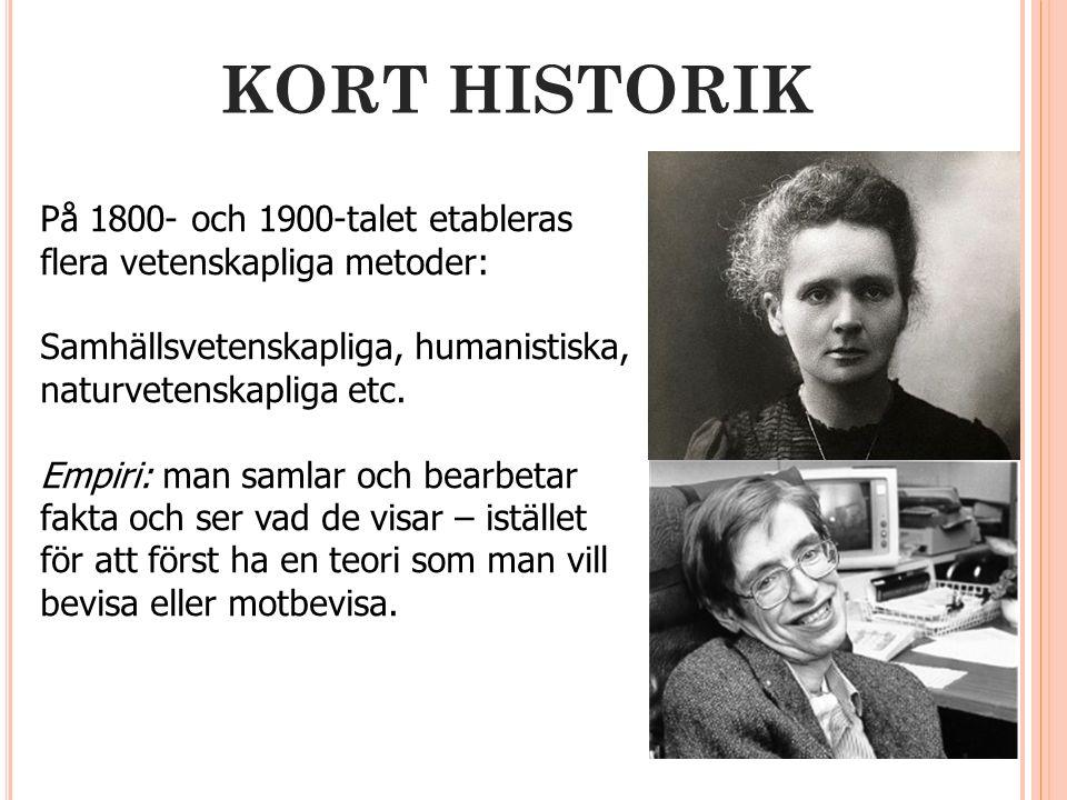 KORT HISTORIK På 1800- och 1900-talet etableras flera vetenskapliga metoder: Samhällsvetenskapliga, humanistiska, naturvetenskapliga etc.