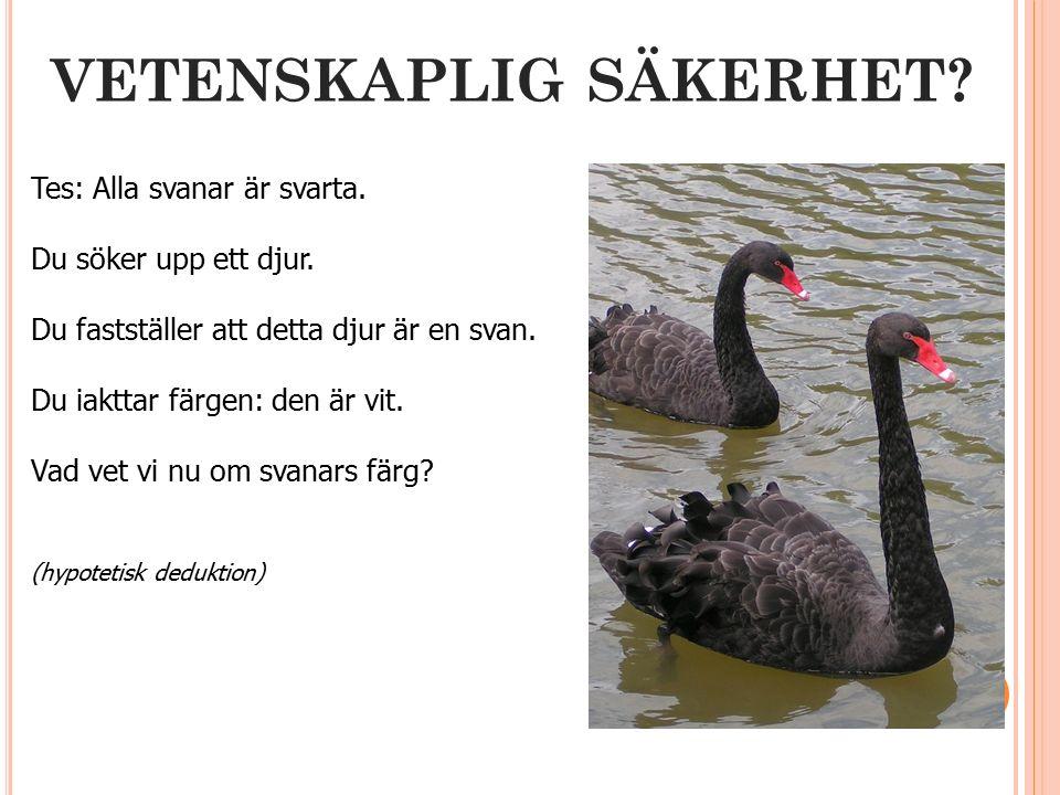 VETENSKAPLIG SÄKERHET. Tes: Alla svanar är svarta.