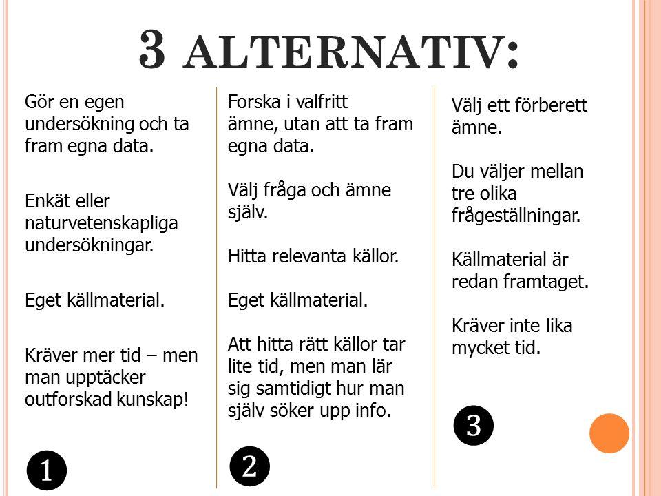 3 ALTERNATIV : Gör en egen undersökning och ta fram egna data.