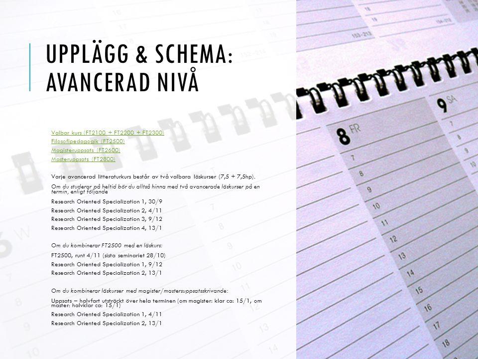 UPPLÄGG & SCHEMA: AVANCERAD NIVÅ Valbar kurs (FT2100 + FT2200 + FT2300) Filosofipedagogik (FT2500) Magisteruppsats (FT2600) Masteruppsats (FT2800) Varje avancerad litteraturkurs består av två valbara läskurser (7,5 + 7,5hp).
