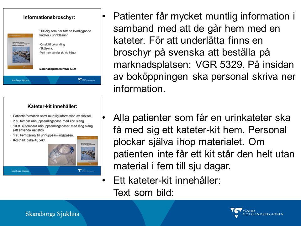 Skaraborgs Sjukhus Patienter får mycket muntlig information i samband med att de går hem med en kateter.
