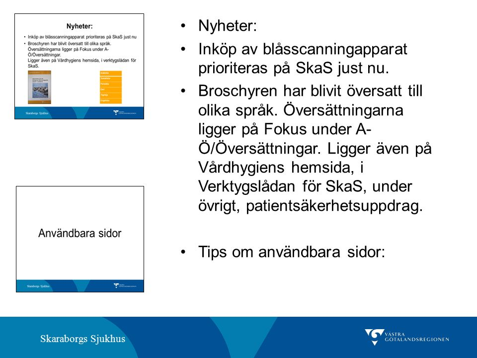 Skaraborgs Sjukhus Nyheter: Inköp av blåsscanningapparat prioriteras på SkaS just nu.